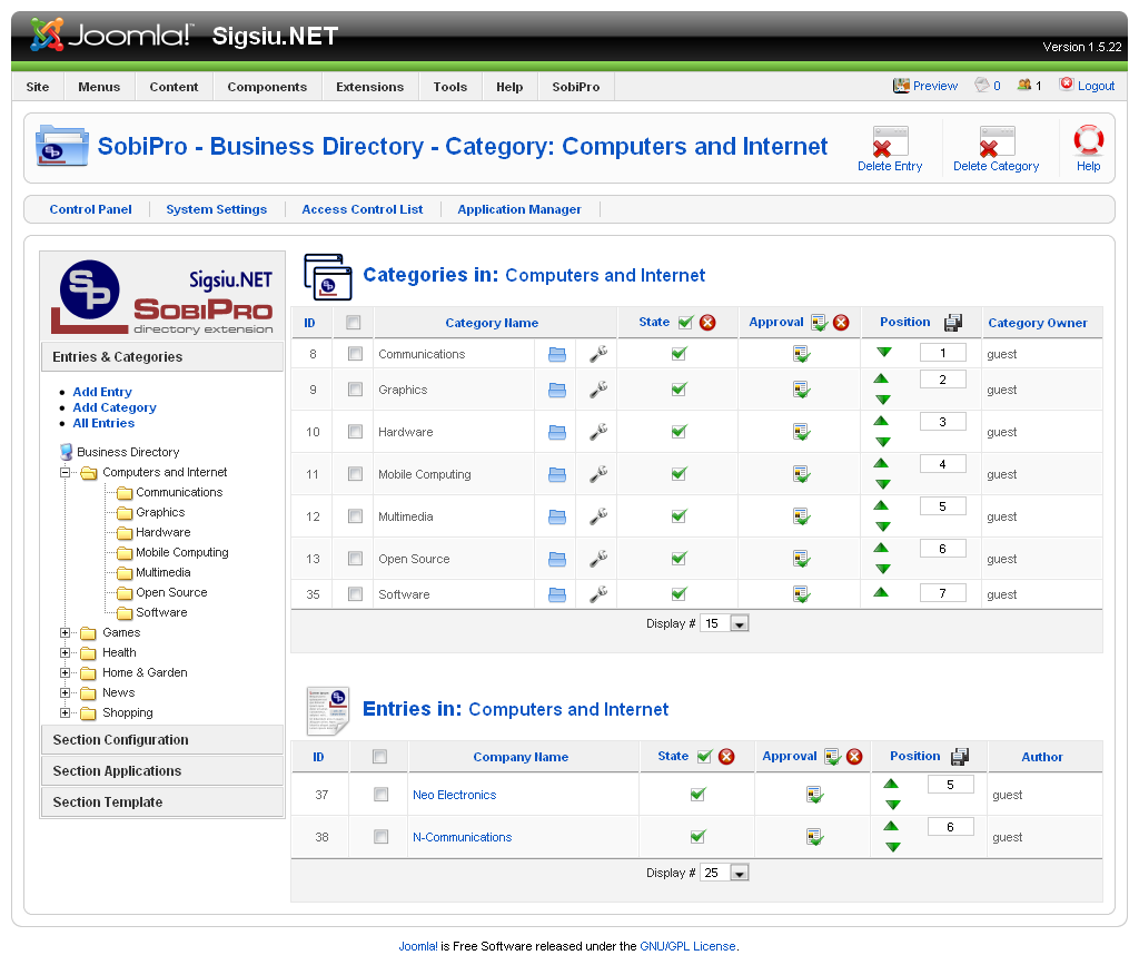 Sobipro directory component for joomla part 2 roberts web design if you are at all familiar with sobi2 you will feel right at home in the administrator for entries and categories you can add an entry add a category flashek Images
