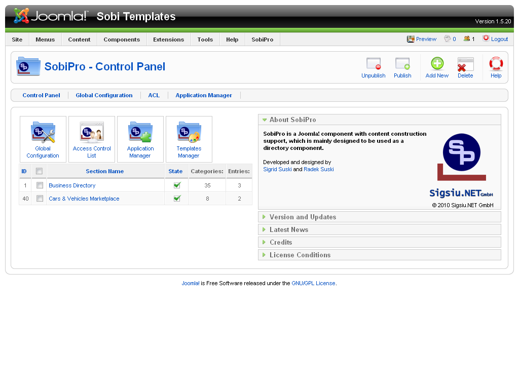 First look sobipro component for joomla part 1 roberts web design here we see the sobipro component installed with the sample data in place including a business directory and cars vehicles marketplace friedricerecipe Image collections